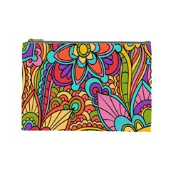 Festive Colorful Ornamental Background Cosmetic Bag (large)  by TastefulDesigns