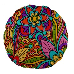 Festive Colorful Ornamental Background Large 18  Premium Flano Round Cushions by TastefulDesigns
