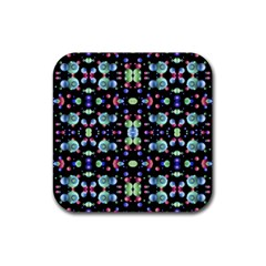 Multicolored Galaxy Pattern Rubber Coaster (square)  by dflcprints