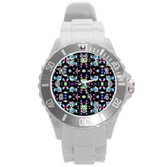 Multicolored Galaxy Pattern Round Plastic Sport Watch (l) by dflcprints