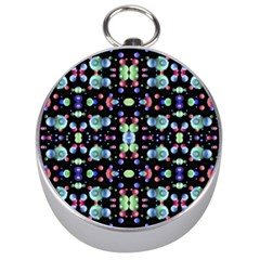 Multicolored Galaxy Pattern Silver Compasses by dflcprints