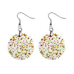 Colorful Fall Leaves Background Mini Button Earrings by TastefulDesigns