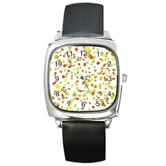 Colorful Fall Leaves Background Square Metal Watch by TastefulDesigns