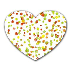 Colorful Fall Leaves Background Heart Mousepads by TastefulDesigns