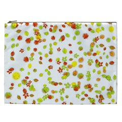 Colorful Fall Leaves Background Cosmetic Bag (xxl)  by TastefulDesigns