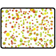 Colorful Fall Leaves Background Double Sided Fleece Blanket (large)  by TastefulDesigns
