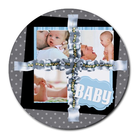 Baby By Baby   Collage Round Mousepad   Zc7l04i2io3n   Www Artscow Com 8 x8 Round Mousepad - 1