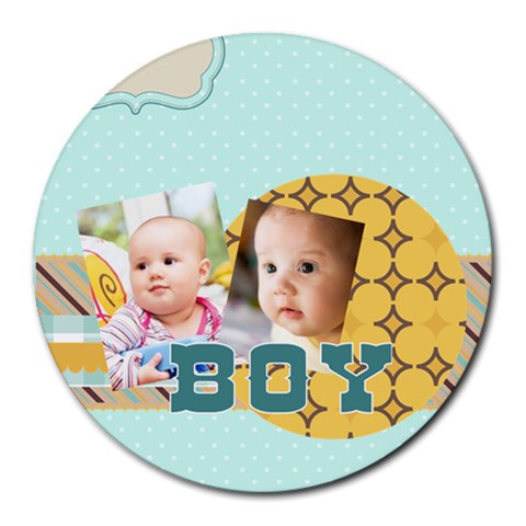 Baby By Baby   Collage Round Mousepad   E3ncbbal9ku9   Www Artscow Com 8 x8 Round Mousepad - 1