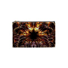 Golden Metallic Abstract Flower Cosmetic Bag (small)  by CrypticFragmentsDesign