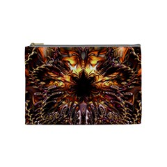 Golden Metallic Abstract Flower Cosmetic Bag (medium)  by CrypticFragmentsDesign
