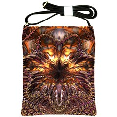 Golden Metallic Abstract Flower Shoulder Sling Bags by CrypticFragmentsDesign