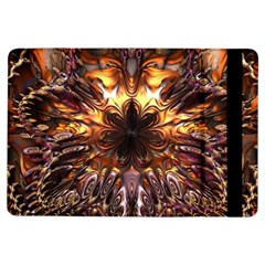 Golden Metallic Abstract Flower Ipad Air Flip by CrypticFragmentsDesign