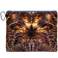 Golden Metallic Abstract Flower Canvas Cosmetic Bag (XXXL)  by CrypticFragmentsDesign