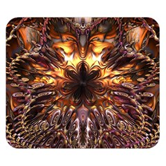 Golden Metallic Abstract Flower Double Sided Flano Blanket (small)  by CrypticFragmentsDesign