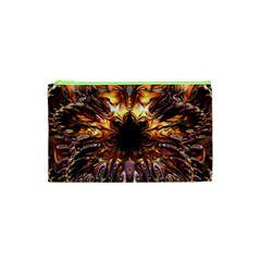 Golden Metallic Abstract Flower Cosmetic Bag (xs) by CrypticFragmentsDesign