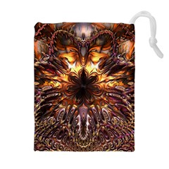 Golden Metallic Abstract Flower Drawstring Pouches (extra Large)