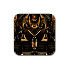 Golden Metallic Geometric Abstract Modern Art Rubber Square Coaster (4 Pack) by CrypticFragmentsDesign
