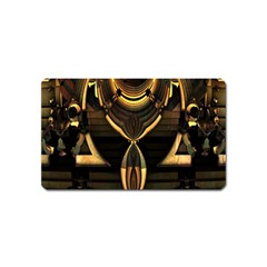 Golden Metallic Geometric Abstract Modern Art Magnet (name Card) by CrypticFragmentsDesign