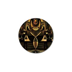 Golden Metallic Geometric Abstract Modern Art Golf Ball Marker (4 Pack) by CrypticFragmentsDesign