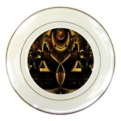 Golden Metallic Geometric Abstract Modern Art Porcelain Plate by CrypticFragmentsDesign