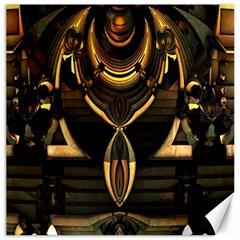 Golden Metallic Geometric Abstract Modern Art Canvas 16  X 16  by CrypticFragmentsDesign