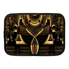 Golden Metallic Geometric Abstract Modern Art Netbook Case (medium) by CrypticFragmentsDesign