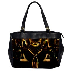 Golden Metallic Geometric Abstract Modern Art Oversize Office Handbag by CrypticFragmentsDesign
