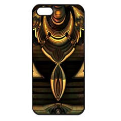 Golden Metallic Geometric Abstract Modern Art Apple Iphone 5 Seamless Case (black) by CrypticFragmentsDesign