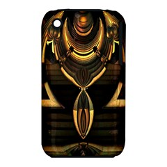 Golden Metallic Geometric Abstract Modern Art Apple Iphone 3g/3gs Hardshell Case (pc+silicone) by CrypticFragmentsDesign