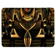 Golden Metallic Geometric Abstract Modern Art Samsung Galaxy Tab 7  P1000 Flip Case by CrypticFragmentsDesign