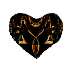 Golden Metallic Geometric Abstract Modern Art Standard 16  Premium Flano Heart Shape Cushion  by CrypticFragmentsDesign