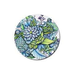 Peaceful Flower Garden 1 Rubber Coaster (round) by Zandiepants