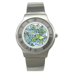 Peaceful Flower Garden 1 Stainless Steel Watch by Zandiepants