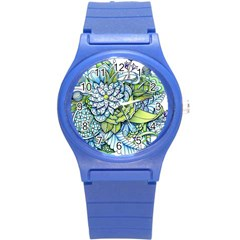 Peaceful Flower Garden 1 Round Plastic Sport Watch (s) by Zandiepants