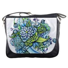 Turquoise Damask Pattern Messenger Bags by Zandiepants