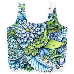 Turquoise Damask Pattern Full Print Recycle Bags (l)  by Zandiepants