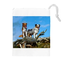 2 Australian Shepherds Drawstring Pouches (Extra Large) by TailWags