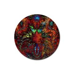 Boho Bohemian Hippie Floral Abstract Rubber Coaster (round)  by CrypticFragmentsDesign
