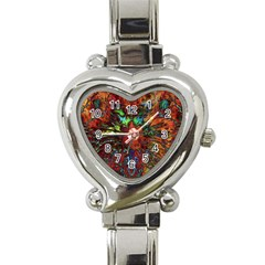 Boho Bohemian Hippie Floral Abstract Heart Italian Charm Watch by CrypticFragmentsDesign