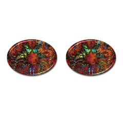 Boho Bohemian Hippie Floral Abstract Cufflinks (oval) by CrypticFragmentsDesign