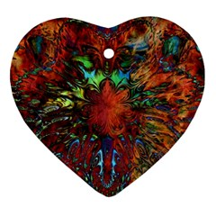 Boho Bohemian Hippie Floral Abstract Heart Ornament (2 Sides) by CrypticFragmentsDesign