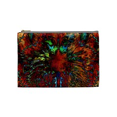 Boho Bohemian Hippie Floral Abstract Cosmetic Bag (medium)  by CrypticFragmentsDesign