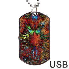 Boho Bohemian Hippie Floral Abstract Dog Tag Usb Flash (one Side) by CrypticFragmentsDesign