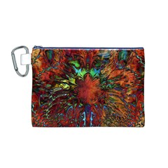 Boho Bohemian Hippie Floral Abstract Canvas Cosmetic Bag (m) by CrypticFragmentsDesign