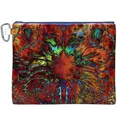 Boho Bohemian Hippie Floral Abstract Canvas Cosmetic Bag (xxxl)  by CrypticFragmentsDesign