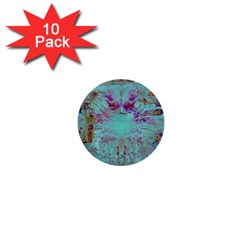 Retro Hippie Abstract Floral Blue Violet 1  Mini Buttons (10 Pack)  by CrypticFragmentsDesign