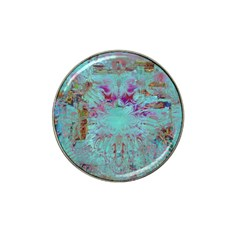 Retro Hippie Abstract Floral Blue Violet Hat Clip Ball Marker (4 Pack) by CrypticFragmentsDesign