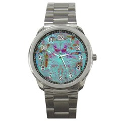 Retro Hippie Abstract Floral Blue Violet Sport Metal Watch by CrypticFragmentsDesign
