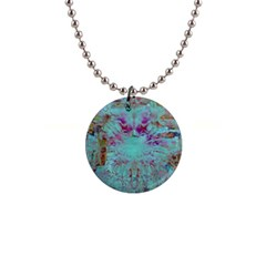 Retro Hippie Abstract Floral Blue Violet Button Necklaces by CrypticFragmentsDesign