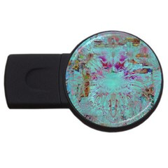 Retro Hippie Abstract Floral Blue Violet Usb Flash Drive Round (4 Gb)  by CrypticFragmentsDesign